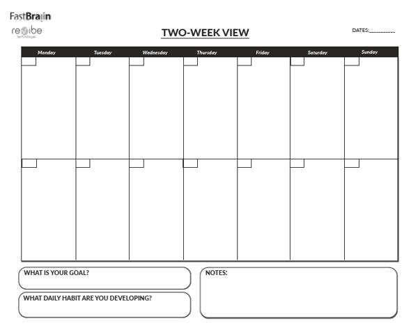 Revibe x FastBraiin Planner | Two-Week View